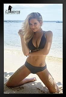 Heather Shanholtz Black Bikini Caliente Collection Pinup Photo Black Wood Framed Poster 14x20 inch