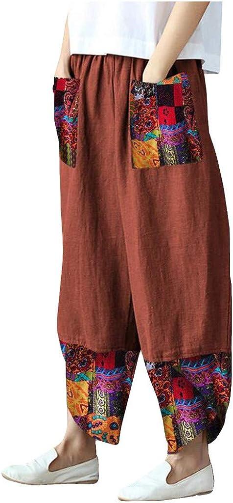 WUAI-Women Casual Loose Wide Leg Linen Pants Elastic Waist Comfy Travel Pajamas Lounge Yoga Pants with Pockets S-5XL