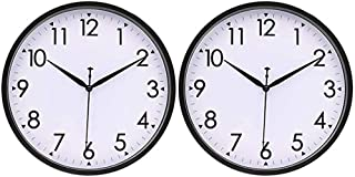 HIPPIH 10 Inch Wall Clocks (Set of 2), Silent Analog Modern Wall Clock Battery Operated Non Ticking Clock-Black
