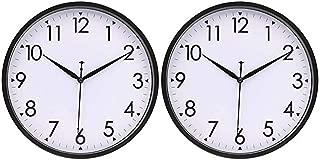 HIPPIH 10 Inch Wall Clocks (Set of 2), Silent Analog Modern Wall Clock Battery Operated Non Ticking Clock-Black