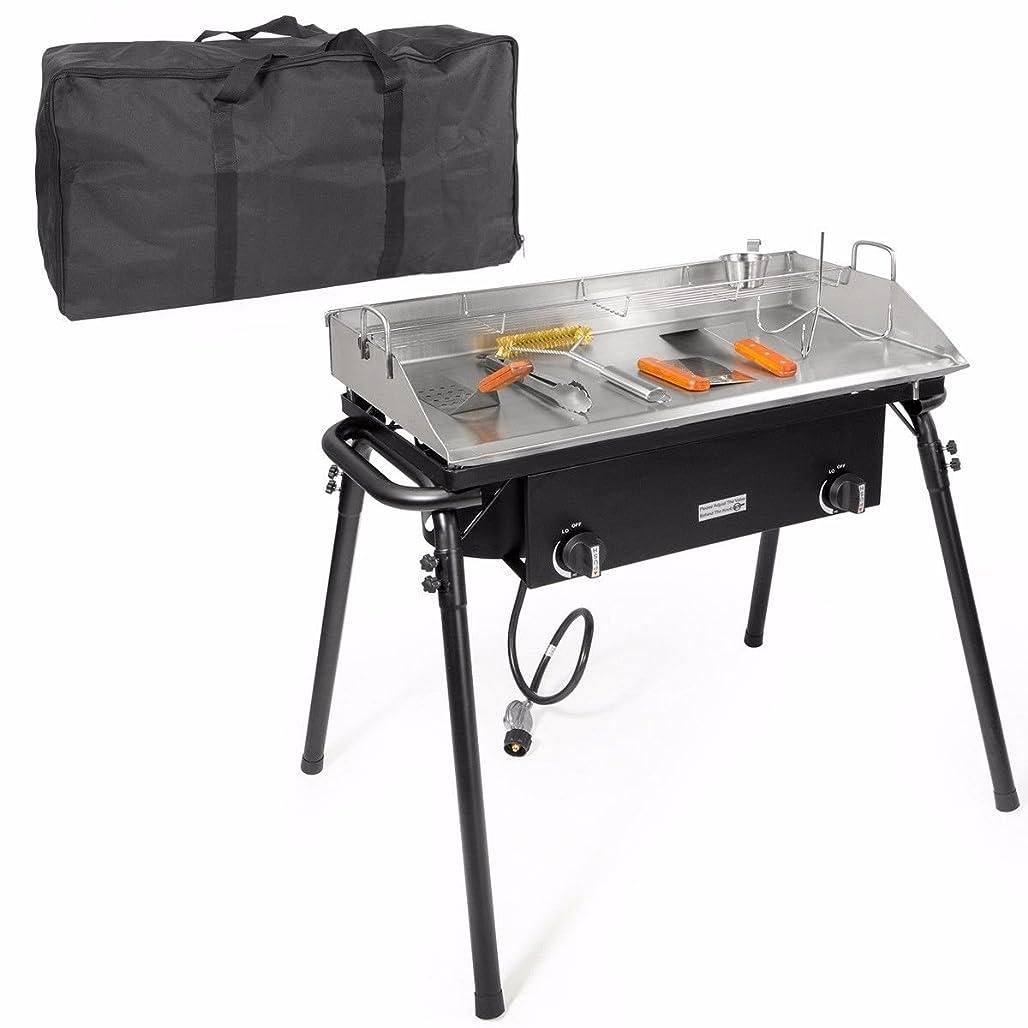 XtremepowerUS Outdoor Camping Propane Griddle Stove Set 20PSI Regulator Flat Griddle Pan Griddle 2-Adjustable Burner Tailgating w/Carrying Bag kokux9539