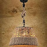 LTongx Illuminazione Retro Corda della Canapa Lampadario, Corda Nautica Woven Drum Shaded Pendant Light Light-Ritorto Flaxen Rope luci a Sospensione in Stile Country