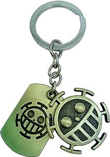 KOGNGU Hot Japan Anime One Piece Trafalgar Law Portgas D Ace Stud Keychain Cosplay (Token Keychain & Bronze)