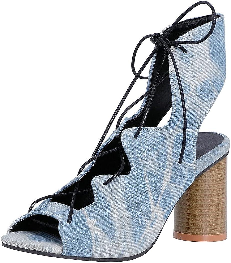 KIKIVIVI Womens Stacked Heel Peep Toe Deluxe Cutout S Lace Slingback Very popular Up
