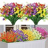 10 Pezzi Fiori Finti per Decorazioni, 5 Colori Resistenti ai Raggi UV Bouquet di Fiori Artificiali da Esterno Interni, Piante Fiori Finte per la Casa Giardino Matrimonio Festa Decorazione (Loto)