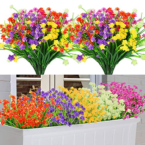 10 Piezas Flores Artificiales Decoracion, 5 Colores Resistentes a Los Rayos UV Flores Exterior Interiores Todo el Año, Plantas de Plastico para Casa Jardín Ventana Fiesta Boda Decoración (Loto)