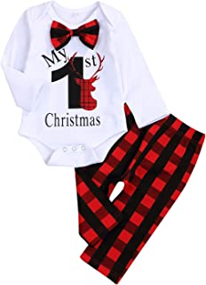 My First Christmas Outfit Baby Boy Bow Tie Romper Bodysuit Xmas Plaid Pants Clothes Set