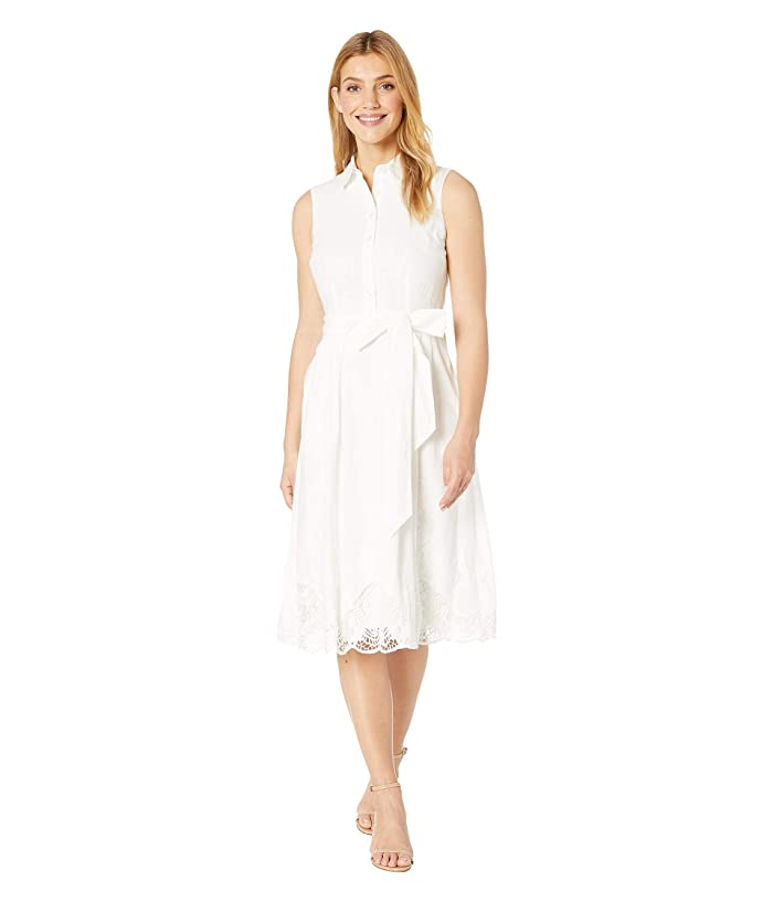 Tahari by ASL Sleeveless Embroidered Hem Shirtdress (Off-White) Women