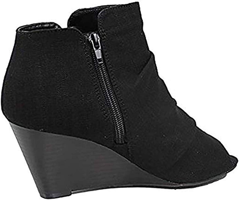 City Classified Women's, Scrunch Fabric Detail Front,Zipper Closure at Back, Open Toe, Boties. MVE shoes,