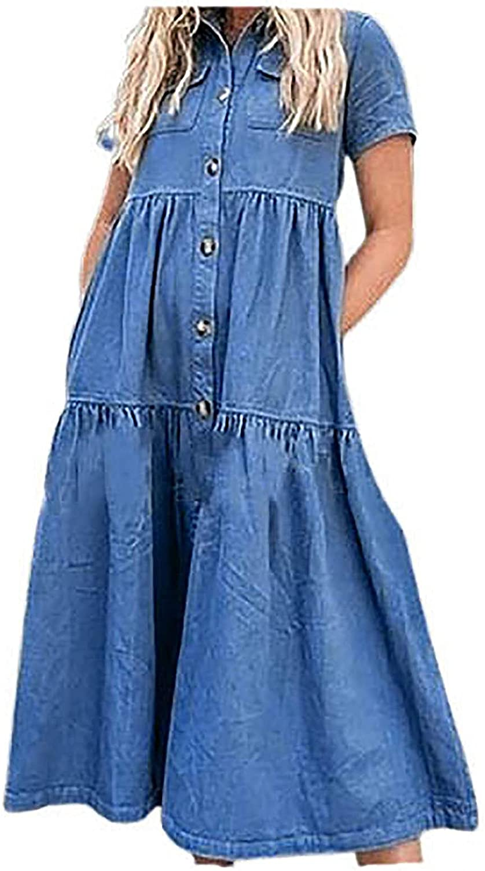 Denim Dresses for Women Summer Dress Short Year-end Now free shipping gift Shirt Sleeve Buttoned