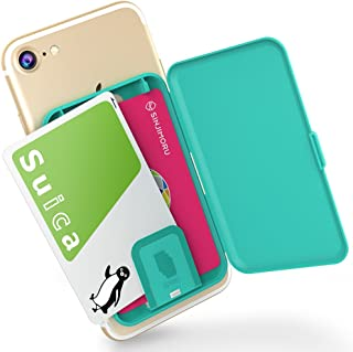 Sinjimoru Phone Card Holder, Stick-on Phone Card Case/Phone Wallet/Credit Card Holder on Back of Phone for up to 3 Cards and Cash Card Zip, Mint Blue.