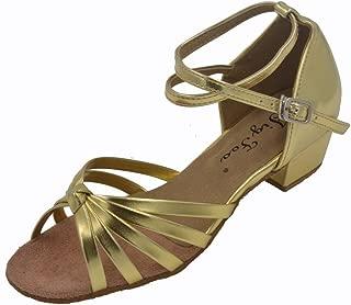 "Jig Foo Sandals Open-Toe Latin Salsa Tango Ballroom Dance Shoes for Girls with 1.2"" Heel Purple"