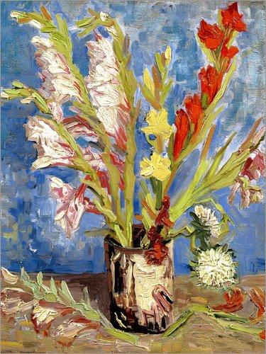 Posterlounge Leinwandbild 70 x 90 cm: Vase mit Gladiolen und China Astern von Vincent Van Gogh - fertiges Wandbild, Bild auf Keilrahmen, Fertigbild auf echter Leinwand, Leinwanddruck