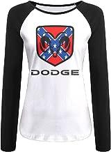 Creamfly Womens Dodge Ram Logo Long Sleeve Raglan Baseball Tshirt