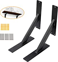 Triangle Shelf Brackets 10'', Wall Mounted Shelving Brackets Corner Supports Floating Wall Hanging Brace (2 Pack, Black)