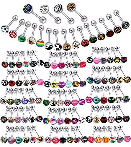 Lote de anillos de lengua de metal de acero quirúrgico, con texto en inglés 'Lot of Wasty Wordings' (14 g, longitud de 16 mm)