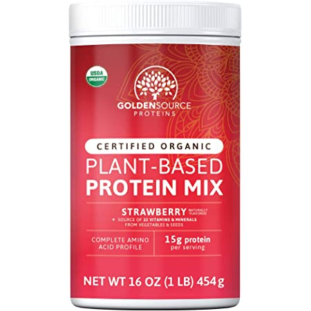 GoldenSource Proteins, Organic Plant-Based Protein, Strawberry, 1 Pound, 18 Servings, 22 Vitamins & Minerals, Complete Amino Acid Profile, Free from Gluten, Soy, Dairy & Peanut, no Added Sugar
