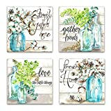 Kitchen Wall Art for Decor Flowers Canvas Print Beautiful Watercolor-Style Family Gathers Here and Forever Home Mason Jar Floral Artwork Four 16x16inch Framed Prints (green, 16inchx16inch x4pieces)