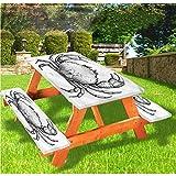 LEWIS FRANKLIN - Cortina de ducha de lujo en blanco y negro, mantel de mesa de picnic, estilo vintage, borde elástico marino, 70 x 72 cm, juego de 3 piezas para mesa plegable