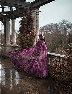Capa medieval rosa de terciopelo con capucha velo boda fantasía disfraz halloween