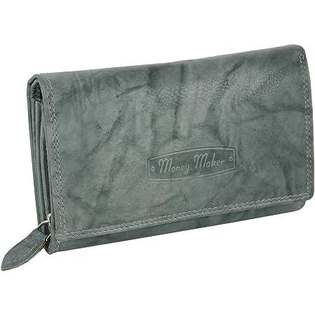 Damen Leder Geldbörse - Großes Portemonnaie für Frauen mit RFID-Schutz - viel Stauraum - in praktischer Geschenkbox (Grau)