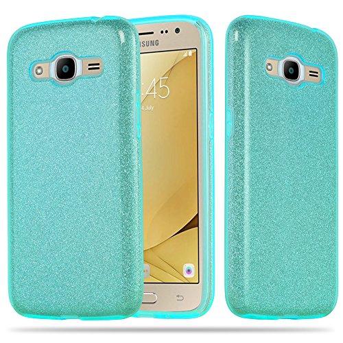 Preisvergleich Produktbild Cadorabo Hülle für Samsung Galaxy J2 2016 (6) - Hülle in Sternenstaub TÜRKIS TPU Silikon und Hardcase Handyhülle im Glitzer Design - Hard Case TPU Silikon Schutzhülle