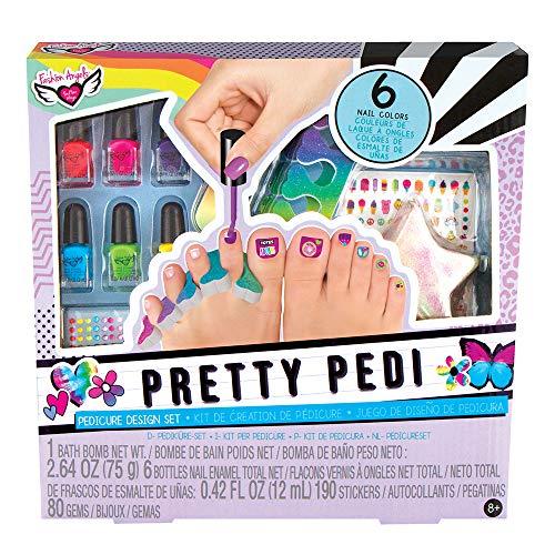Fashion Angels Pretty Pedi Pedicure Kit for Girls - Kids Nail Spa Set with Nail Polish, Nail Stickers, Toe Separators, Nail File, and Bath Bombs, Nail Kit for Kids Ages 8 and Up