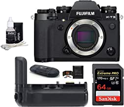 FUJIFILM X-T3 Mirrorless Digital Camera Body (Black) Bundle, Includes: SanDisk 64GB Extreme PRO SDXC Memory Card, Fujifilm VG-XT3 Vertical Battery Grip + More (6 Items)