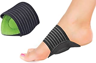 Plantar Fasciitis Arch Support for Flat and Achy Feet, Heel Spurs, Fallen Arches and Foot Pain Relief 2 Gel Cushioned Sleeves, Padded Compression Insoles for Men and Women (Green)