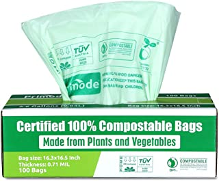 Primode 100% Compostable Bags 2.6 Gallon Food Scraps Yard Waste Bags, Extra Thick 0.71 Mil. ASTMD6400 Biodegradable Compost Bags Small Kitchen Trash Bags, Certified By BPI And TUV EU (100)