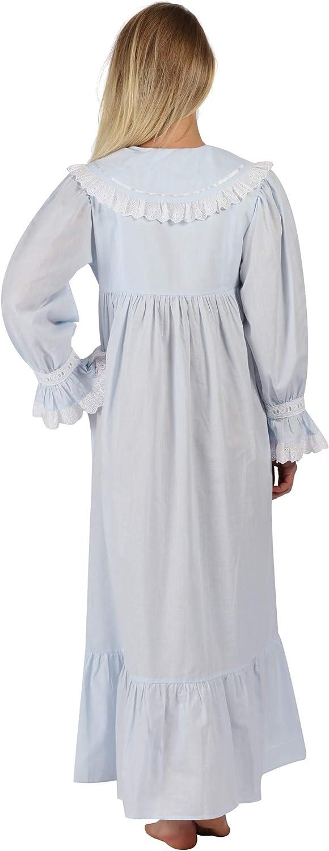 The 1 for U 100% Baumwolle Viktorianisches Stil Nachthemd/Hausmantel Amelia XS Blau