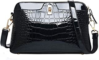 0b73ffe37efb Danse Jupe Women Crocodile Print Shoulder Bag Patent Leather Handbag  Fashion Crossbody Shell Bag(Black