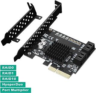 N.ORANIE PCIe 2.0 x 1 to 4ポートSATA III 6Gbps PCIE RAID ホスト コントローラカード HyperDuoサポート SSD階層 IPFS ハードディスク ポートマルチプライヤー Marvell 88...