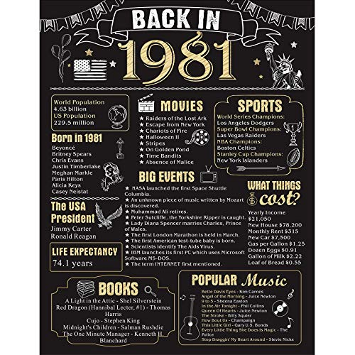 40 Years Ago Birthday or Wedding Anniversary Poster 11 x 14 Party Decorations Supplies Large 40th Party Sign Home Decor for Men and Women (Back in 1981)