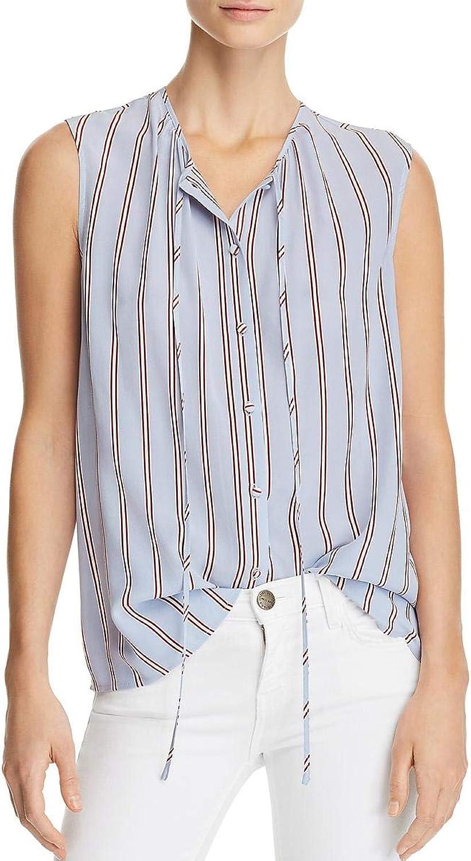 Frame Denim Womens Silk Striped ButtonDown Top
