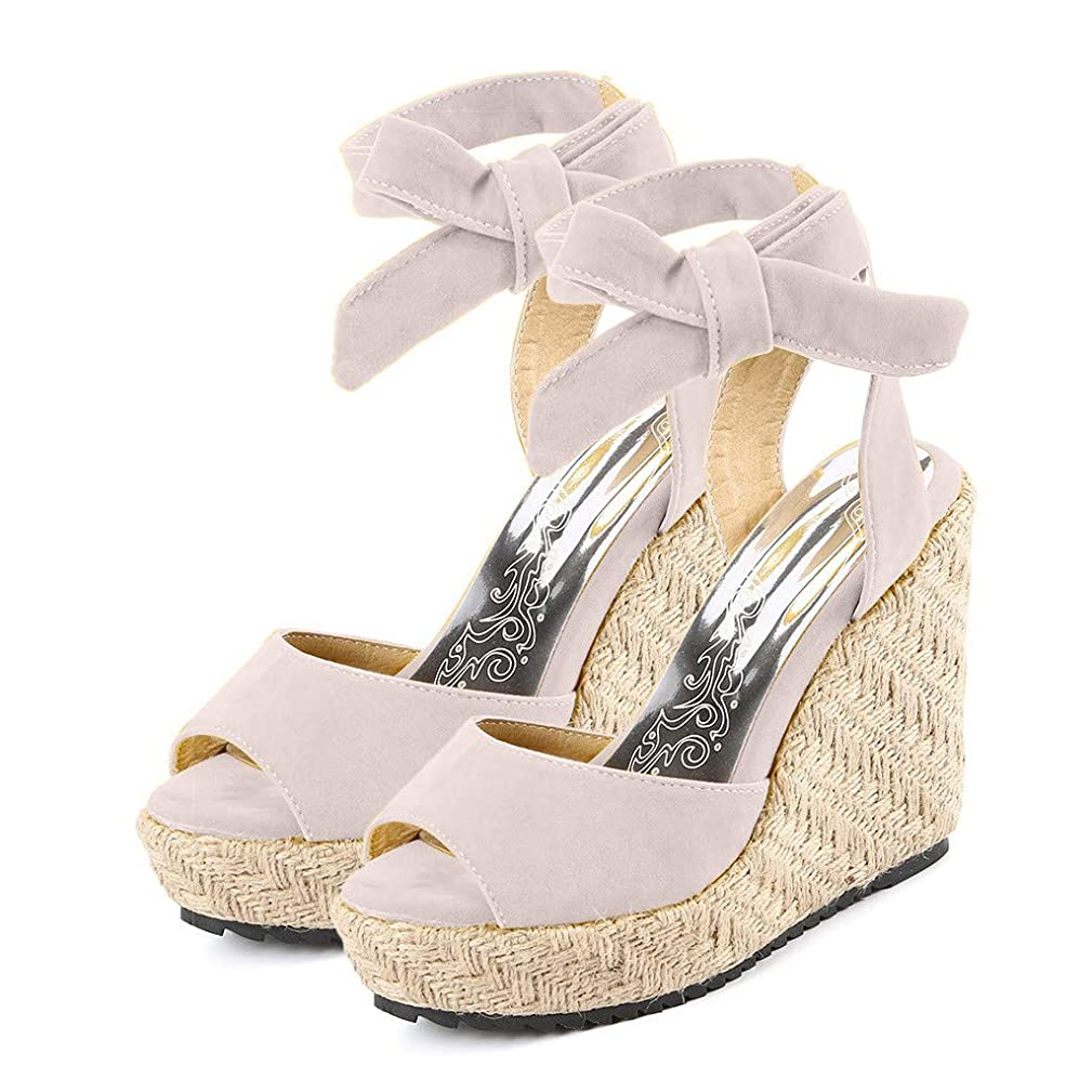 Fashion Women's Wedges Sandals Open Toe Thick Bottom Lace-Up Beach Roman Shoes