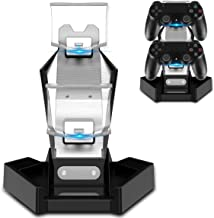PHOINIKAS PS4/PS3 Controller Charger Charging Station with Dual USB Charger Stand for Playstation 4/PS4/PS4 Pro/PS4/PS3 Slim Controllers- Fast Charging Dock & LED Indicator &Arm Bracket US Stock