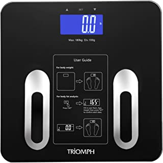 Triomph Precision Body Fat Scale with Backlit LCD Digital Bathroom Scale For Body Weight, Body Fat,Water,Muscle,BMI,Bone Mass and Calorie,10 User Recognition 400 lbs Capacity,Fat Loss Monitor,Black