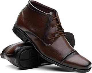 Sapato Social Masculino Cano Médio Em Couro Super Confortável