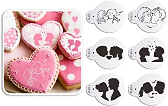 AK ART KITCHENWARE Kiss Lovers Cookies Stencils Wedding Cupcake Plastic Laser-cut Stencil Template Baking Fondant Cake Decorating Supplies Edible Art Tools 6pcs ST-872