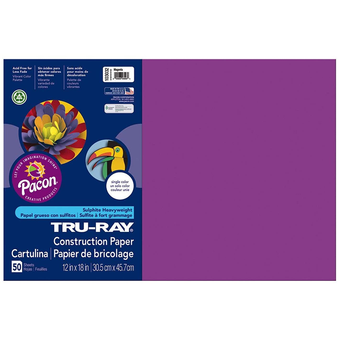 Pacon Tru-Ray Construction Paper, 76 lbs., 12 x 18, Magenta, 50 Sheets/Pack (103032)