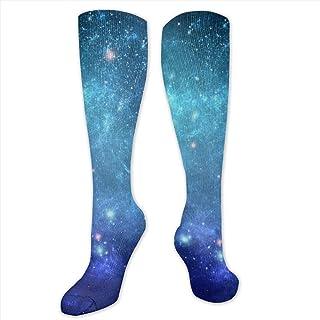JackyCH, NA Galaxy Space - Calcetines de compresión graduados para Mujer y Hombre, Color Azul