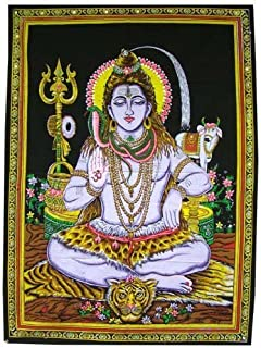 God Shiva Painting Sequin Indian Religious Batik Wall Hanging Medium Poster 42X30 inches