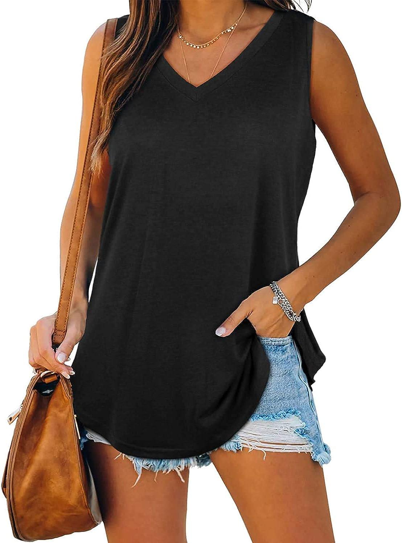 Cysincos Womens Summer V Neck Tank Tops Casual Sleeveless Shirts Loose Tunic Tee Blouse