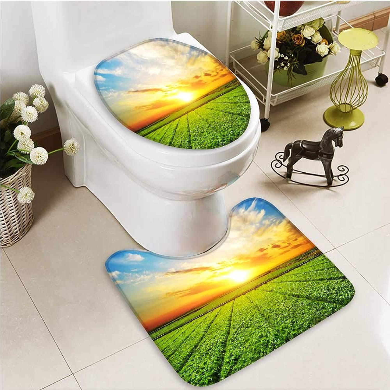 Printsonne Bathroom Non-Slip Floor Mat Beautiful Sunset Scenery of Grassland with High Absorbency