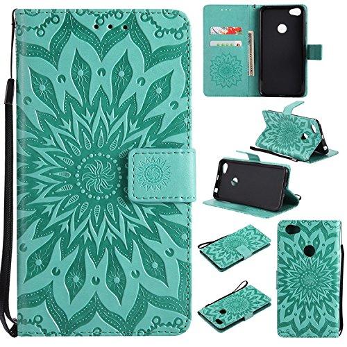 Guran® PU Leder Tasche Etui für Xiaomi Redmi Note 5A Smartphone Flip Cover Stand Hülle & Karte Slot Hülle-grün