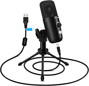 USB Plug&Play Computer Microphone, FDUCE Professional Studio PC Mic with Tripod for Gaming, Streaming, Podcast, Chatting, YouTube on Mac & Windows(Black)