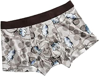 neveraway Mens Quick Dry Middle Waist Floral Print Modal Square Leg Boxer Brief