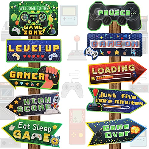 20 Pieces Video Game Party Sign Game Party Themed Directional Signs Video Game Sign Funny Video Game Cutouts Welcome Yard Outdoor Wall Sign Party Supplies Photo Props Backdrop Decoration Party Decor