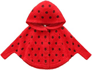 JELEUON Little Baby Kids Girls Sweatshirt Polka Dots Cozy Fur Hood Cape Poncho Cardigan Sweater Coat Jacket